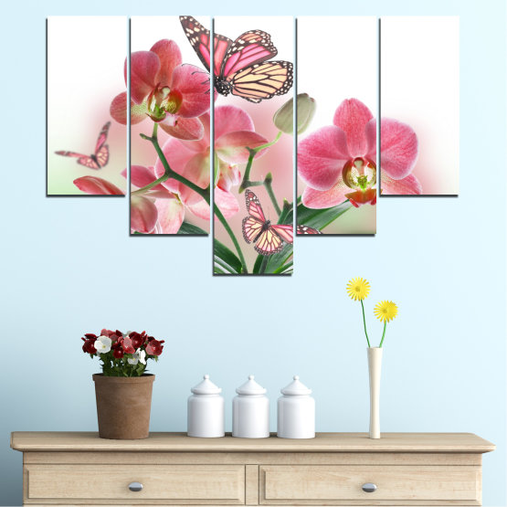 Canvas prints & wall decorative panels - 5 pieces №0365 » Pink, Gray, White, Beige, Milky pink » Flowers, Orchid, Butterfly Form #6