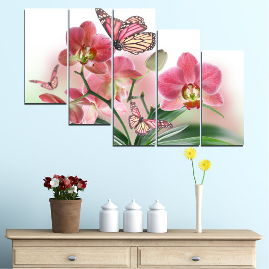 Canvas prints & wall decorative panels - 5 pieces №0365 » Pink, Gray, White, Beige, Milky pink » Flowers, Orchid, Butterfly Form #7