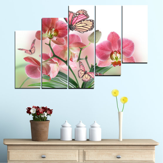 Canvas prints & wall decorative panels - 5 pieces №0365 » Pink, Gray, White, Beige, Milky pink » Flowers, Orchid, Butterfly Form #8