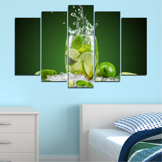Canvas prints & wall decorative panels - 5 pieces №0366 » Green, Black, Gray » Culinary, Fresh, Drink Form #1