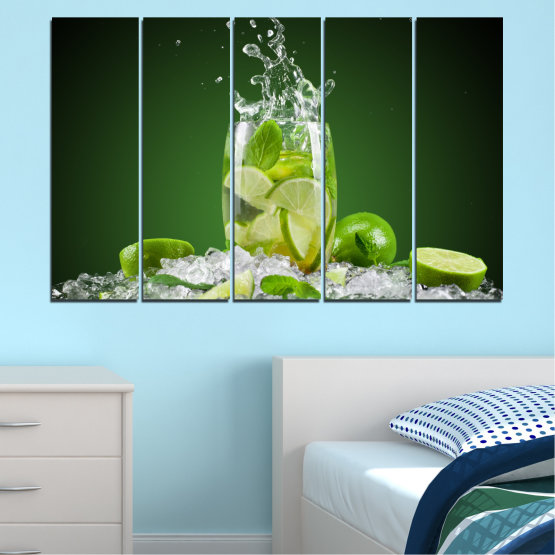 Canvas prints & wall decorative panels - 5 pieces №0366 » Green, Black, Gray » Culinary, Fresh, Drink Form #2
