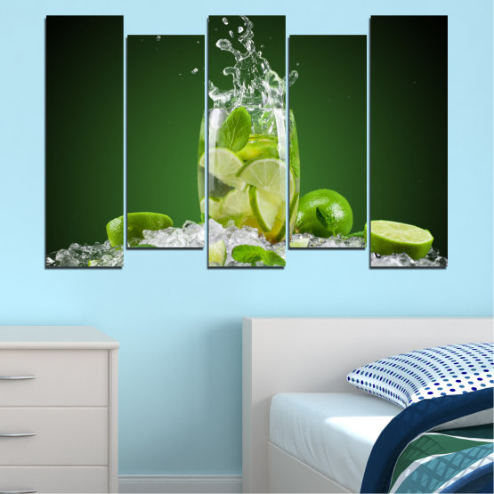Canvas prints & wall decorative panels - 5 pieces №0366 » Green, Black, Gray » Culinary, Fresh, Drink Form #3