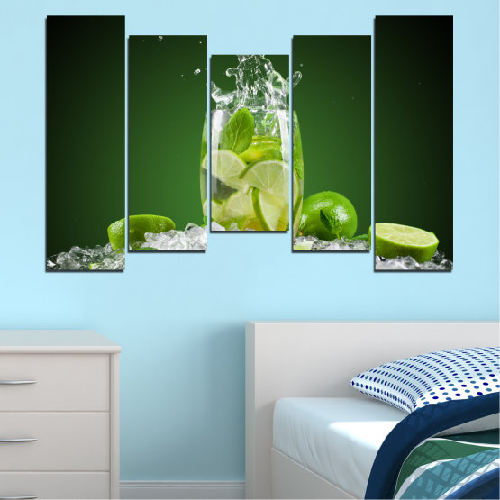 Canvas prints & wall decorative panels - 5 pieces №0366 » Green, Black, Gray » Culinary, Fresh, Drink Form #4