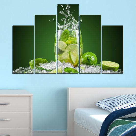 Декоративни панели и картини от канава - от 5 части №0366 » Зелен, Черен, Сив » Кулинарен, Свеж, Напитка Form #5