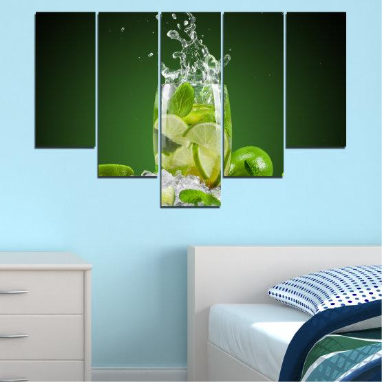 Декоративни панели и картини от канава - от 5 части №0366 » Зелен, Черен, Сив » Кулинарен, Свеж, Напитка Form #6