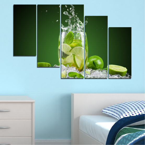 Canvas prints & wall decorative panels - 5 pieces №0366 » Green, Black, Gray » Culinary, Fresh, Drink Form #7