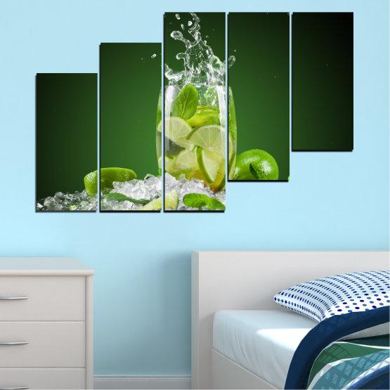 Декоративни панели и картини от канава - от 5 части №0366 » Зелен, Черен, Сив » Кулинарен, Свеж, Напитка Form #8