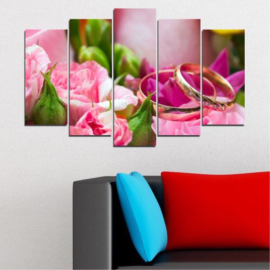 Декоративни панели и картини от канава - от 5 части №0367 » Червен, Розов, Кафяв, Сив, Млечно розов » Цветя, Роза, Сватба, Пръстен Form #1