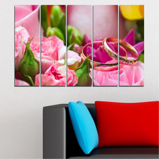 Canvas prints & wall decorative panels - 5 pieces №0367 » Red, Pink, Brown, Gray, Milky pink » Flowers, Rose, Wedding, Ring Form #2