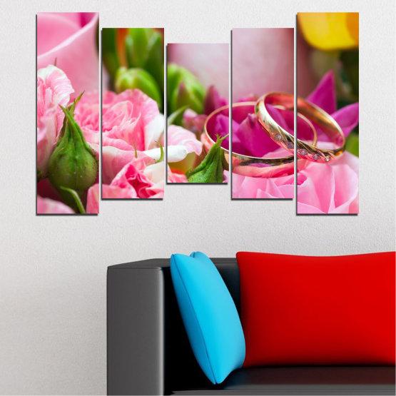 Декоративни панели и картини от канава - от 5 части №0367 » Червен, Розов, Кафяв, Сив, Млечно розов » Цветя, Роза, Сватба, Пръстен Form #4