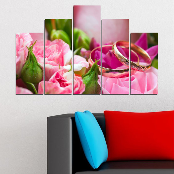 Canvas prints & wall decorative panels - 5 pieces №0367 » Red, Pink, Brown, Gray, Milky pink » Flowers, Rose, Wedding, Ring Form #5