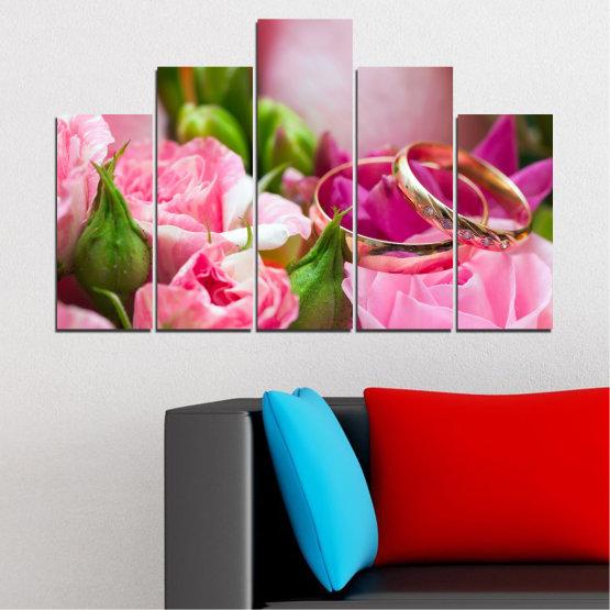 Декоративни панели и картини от канава - от 5 части №0367 » Червен, Розов, Кафяв, Сив, Млечно розов » Цветя, Роза, Сватба, Пръстен Form #5
