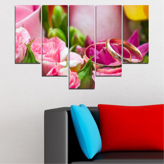 Canvas prints & wall decorative panels - 5 pieces №0367 » Red, Pink, Brown, Gray, Milky pink » Flowers, Rose, Wedding, Ring Form #6