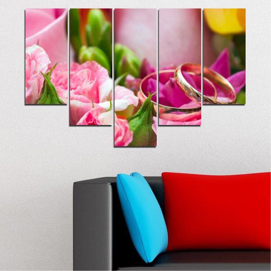 Декоративни панели и картини от канава - от 5 части №0367 » Червен, Розов, Кафяв, Сив, Млечно розов » Цветя, Роза, Сватба, Пръстен Form #6
