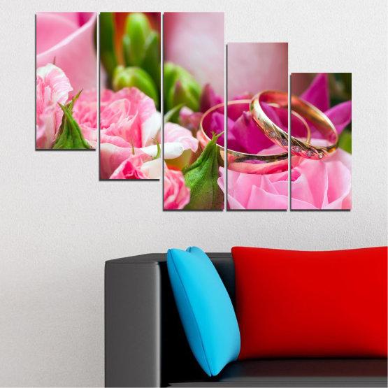 Декоративни панели и картини от канава - от 5 части №0367 » Червен, Розов, Кафяв, Сив, Млечно розов » Цветя, Роза, Сватба, Пръстен Form #7