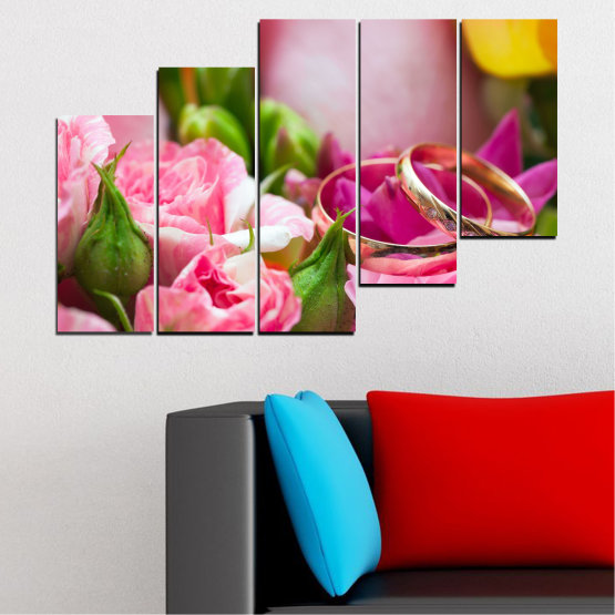 Canvas prints & wall decorative panels - 5 pieces №0367 » Red, Pink, Brown, Gray, Milky pink » Flowers, Rose, Wedding, Ring Form #8
