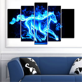 Abstraction, Horse, Fire » Blue, Turquoise, Black