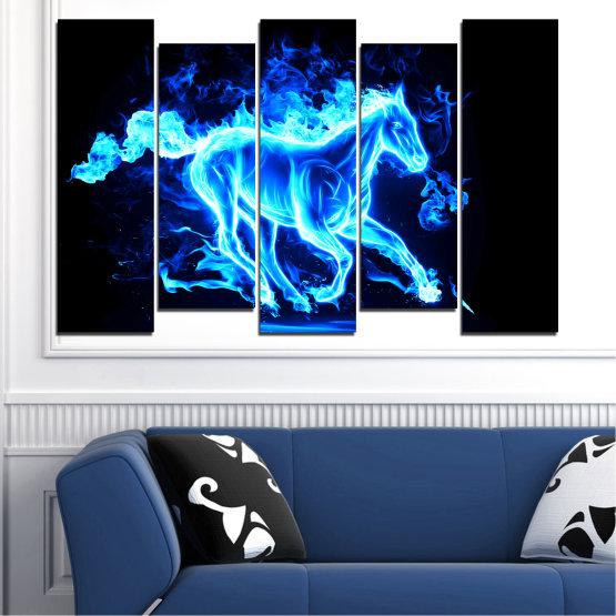 Декоративни панели и картини от канава - от 5 части №0368 » Син, Тюркоаз, Черен » Абстракция, Огън, Кон Form #3