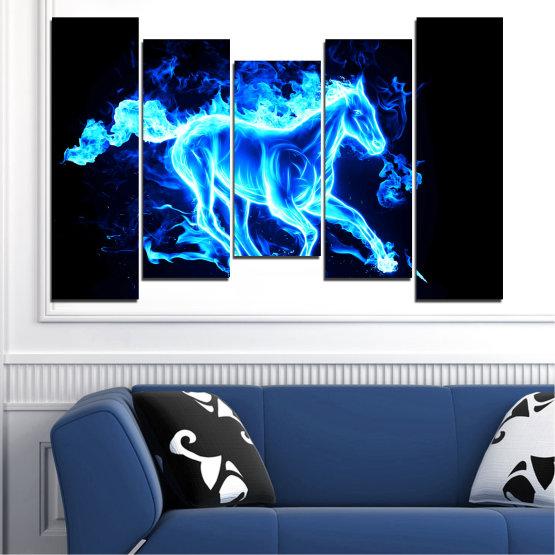Декоративни панели и картини от канава - от 5 части №0368 » Син, Тюркоаз, Черен » Абстракция, Огън, Кон Form #4