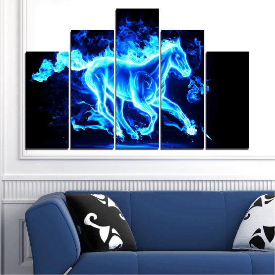 Декоративни панели и картини от канава - от 5 части №0368 » Син, Тюркоаз, Черен » Абстракция, Огън, Кон Form #5