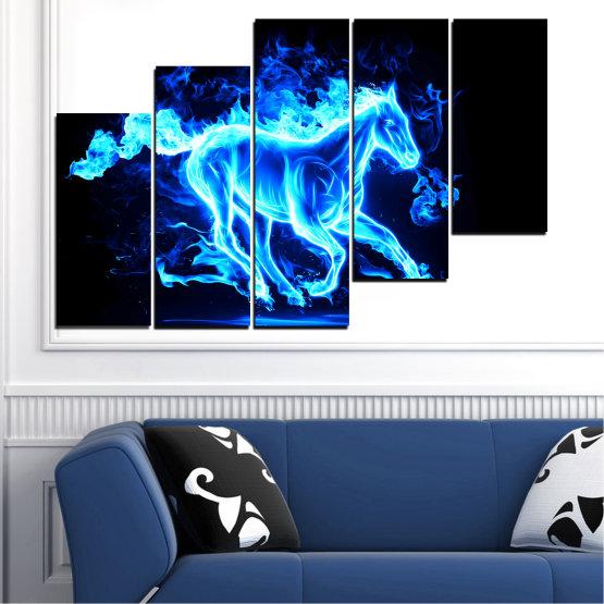 Декоративни панели и картини от канава - от 5 части №0368 » Син, Тюркоаз, Черен » Абстракция, Огън, Кон Form #8