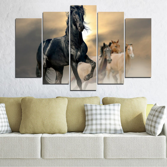 Canvas prints & wall decorative panels - 5 pieces №0369 » Black, Gray, Beige, Dark grey » Animal, Horse, Portrait Form #1