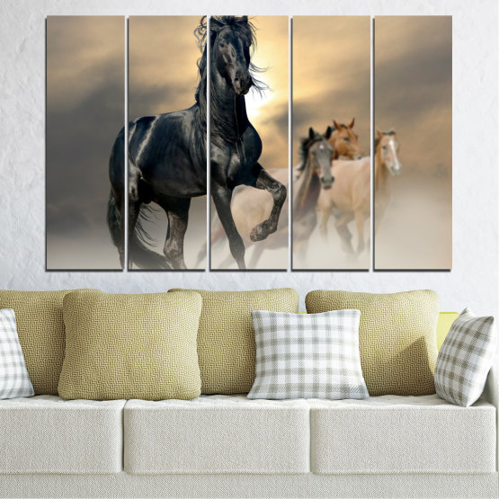 Canvas prints & wall decorative panels - 5 pieces №0369 » Black, Gray, Beige, Dark grey » Animal, Horse, Portrait Form #2