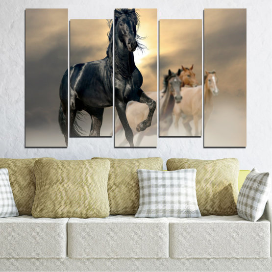 Canvas prints & wall decorative panels - 5 pieces №0369 » Black, Gray, Beige, Dark grey » Animal, Horse, Portrait Form #3