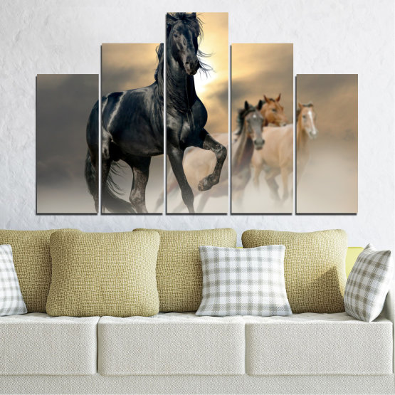 Canvas prints & wall decorative panels - 5 pieces №0369 » Black, Gray, Beige, Dark grey » Animal, Horse, Portrait Form #5