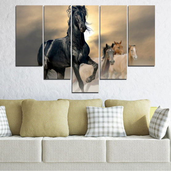Canvas prints & wall decorative panels - 5 pieces №0369 » Black, Gray, Beige, Dark grey » Animal, Horse, Portrait Form #6