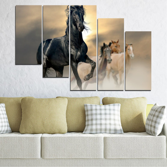 Canvas prints & wall decorative panels - 5 pieces №0369 » Black, Gray, Beige, Dark grey » Animal, Horse, Portrait Form #7