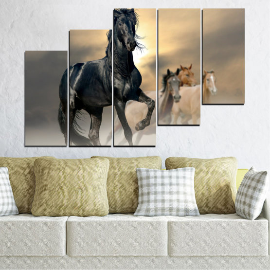 Canvas prints & wall decorative panels - 5 pieces №0369 » Black, Gray, Beige, Dark grey » Animal, Horse, Portrait Form #8