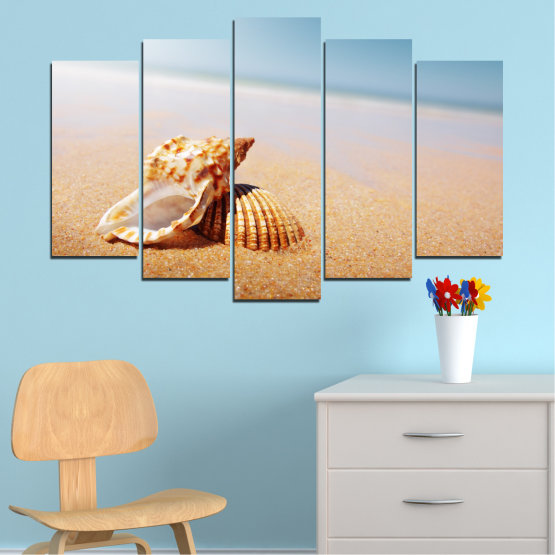 Canvas prints & wall decorative panels - 5 pieces №0037 » Orange, Gray, White, Beige » Sea, Beach, Summer, Seaside Form #1
