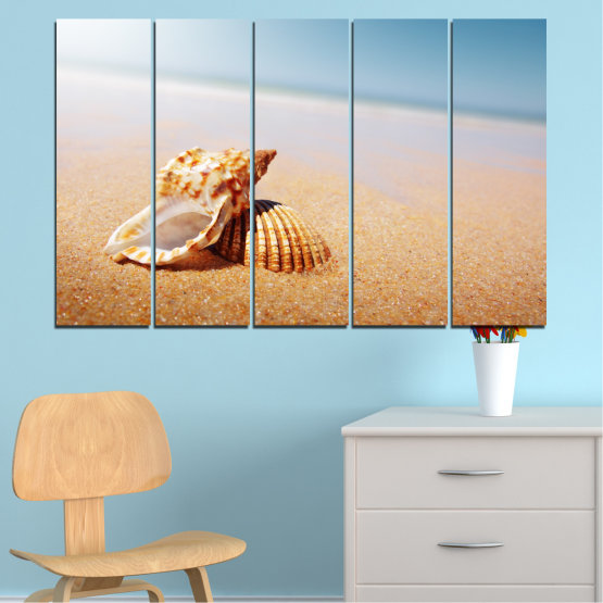 Canvas prints & wall decorative panels - 5 pieces №0037 » Orange, Gray, White, Beige » Sea, Beach, Summer, Seaside Form #2