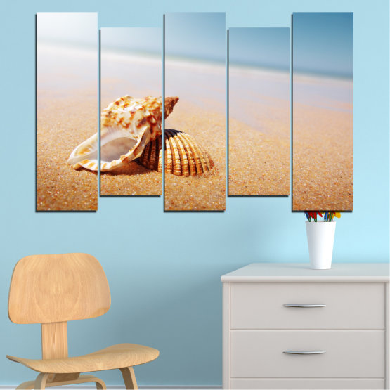Canvas prints & wall decorative panels - 5 pieces №0037 » Orange, Gray, White, Beige » Sea, Beach, Summer, Seaside Form #3