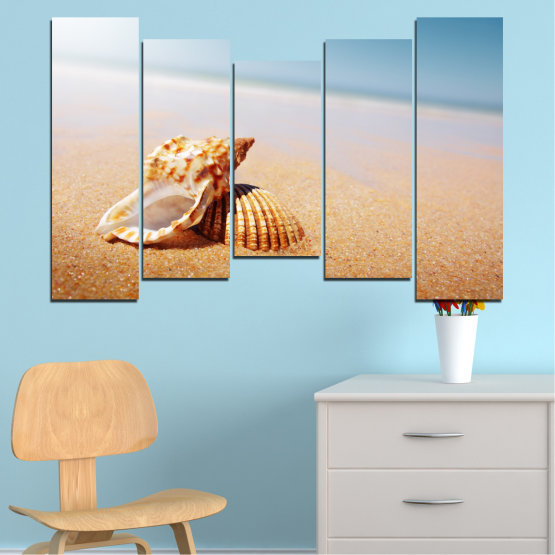 Canvas prints & wall decorative panels - 5 pieces №0037 » Orange, Gray, White, Beige » Sea, Beach, Summer, Seaside Form #4