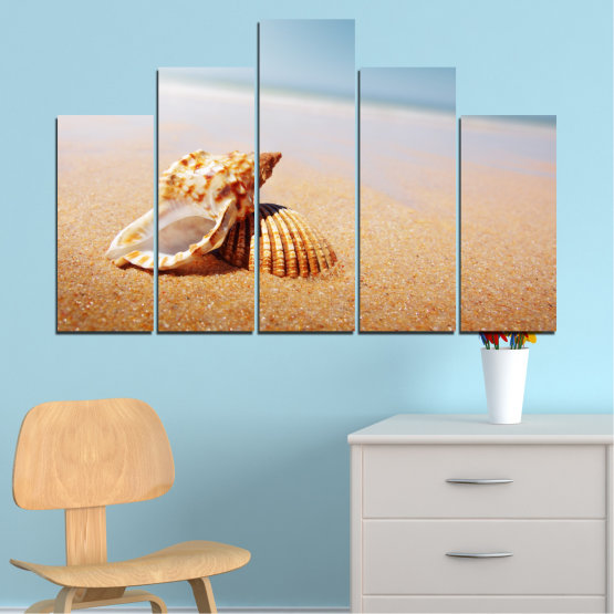 Canvas prints & wall decorative panels - 5 pieces №0037 » Orange, Gray, White, Beige » Sea, Beach, Summer, Seaside Form #5