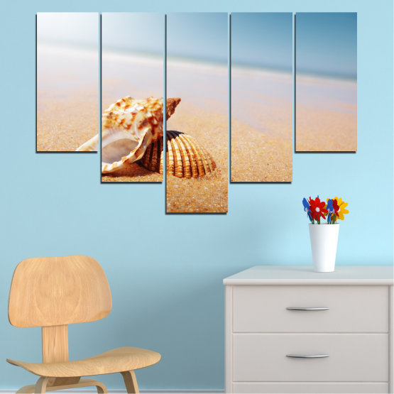 Canvas prints & wall decorative panels - 5 pieces №0037 » Orange, Gray, White, Beige » Sea, Beach, Summer, Seaside Form #6
