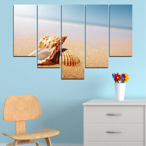 Декоративни панели и картини от канава - от 5 части №0037 » Оранжев, Сив, Бял, Бежов » Море, Плаж, Лято, Бряг Form #6