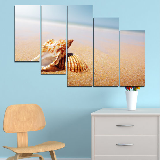 Canvas prints & wall decorative panels - 5 pieces №0037 » Orange, Gray, White, Beige » Sea, Beach, Summer, Seaside Form #7