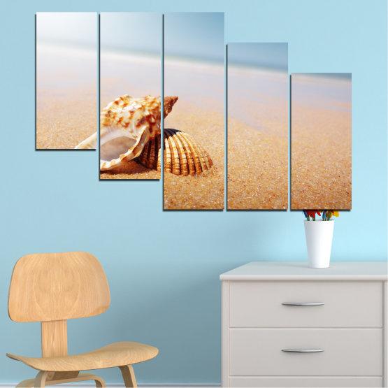 Декоративни панели и картини от канава - от 5 части №0037 » Оранжев, Сив, Бял, Бежов » Море, Плаж, Лято, Бряг Form #7