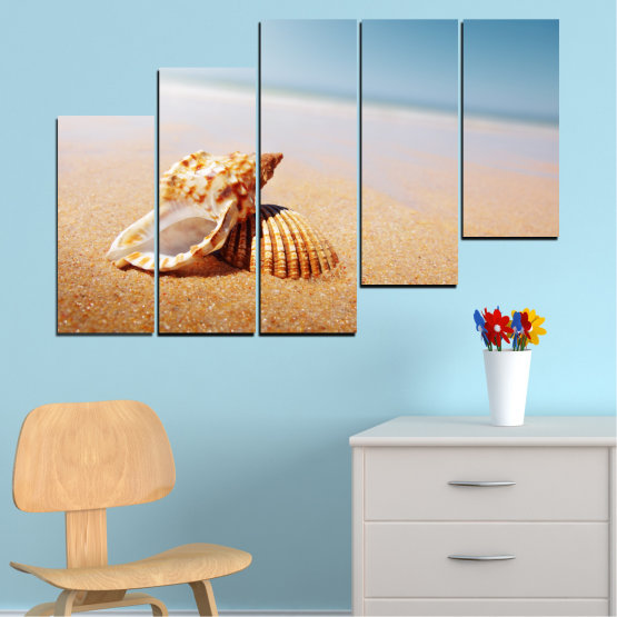 Canvas prints & wall decorative panels - 5 pieces №0037 » Orange, Gray, White, Beige » Sea, Beach, Summer, Seaside Form #8