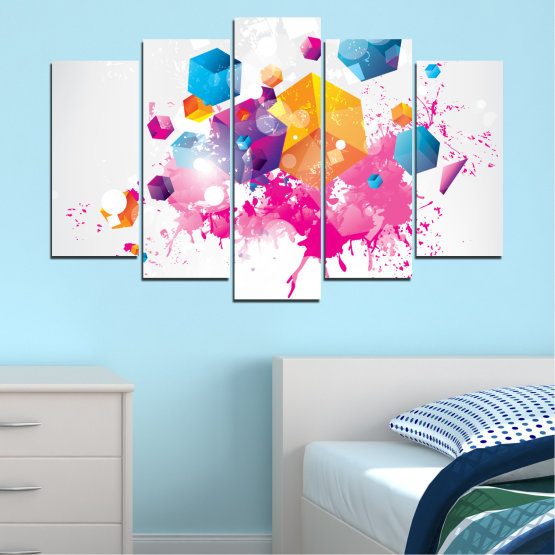 Canvas prints & wall decorative panels - 5 pieces №0370 » Pink, Yellow, Gray, White, Milky pink » Abstraction, Colorful, Cube Form #1