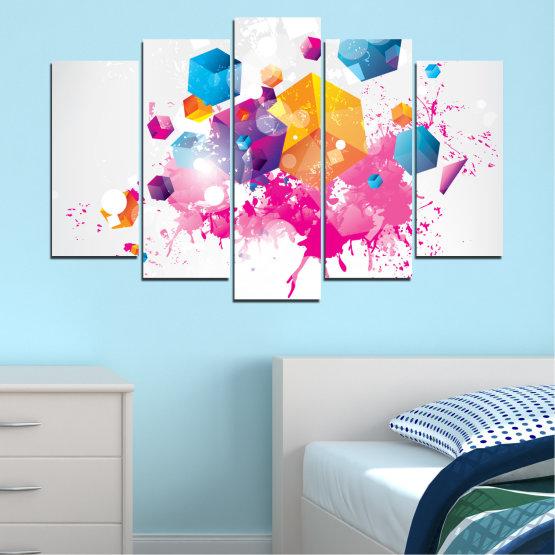 Декоративни панели и картини от канава - от 5 части №0370 » Розов, Жълт, Сив, Бял, Млечно розов » Абстракция, Цветен, Куб Form #1