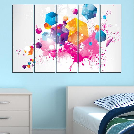 Εκτύπωση σε καμβά και διακοσμητικά πάνελ τοίχου - 5 τεμάχια №0370 » Ροζ, Κίτρινος, Γκρί, Άσπρο, Γαλακτώδες ροζ » Αφαίρεση, Γραφικός, Κύβος Form #2
