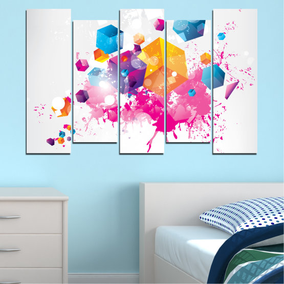 Canvas prints & wall decorative panels - 5 pieces №0370 » Pink, Yellow, Gray, White, Milky pink » Abstraction, Colorful, Cube Form #3