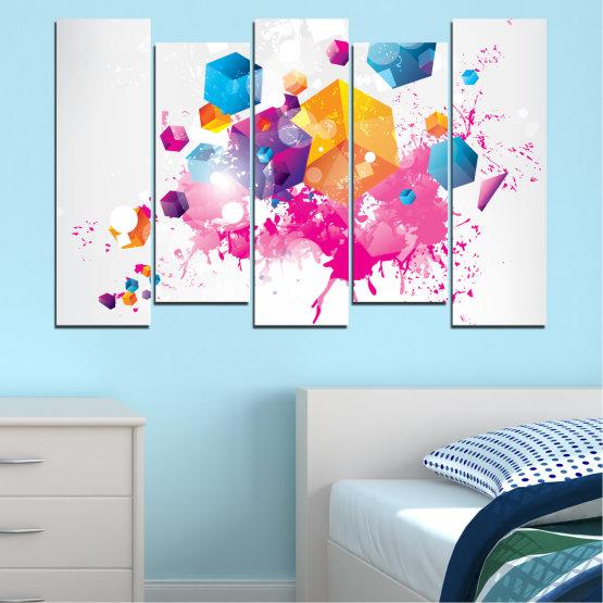 Декоративни панели и картини от канава - от 5 части №0370 » Розов, Жълт, Сив, Бял, Млечно розов » Абстракция, Цветен, Куб Form #3