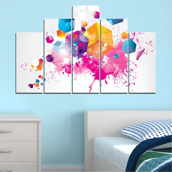 Canvas prints & wall decorative panels - 5 pieces №0370 » Pink, Yellow, Gray, White, Milky pink » Abstraction, Colorful, Cube Form #5