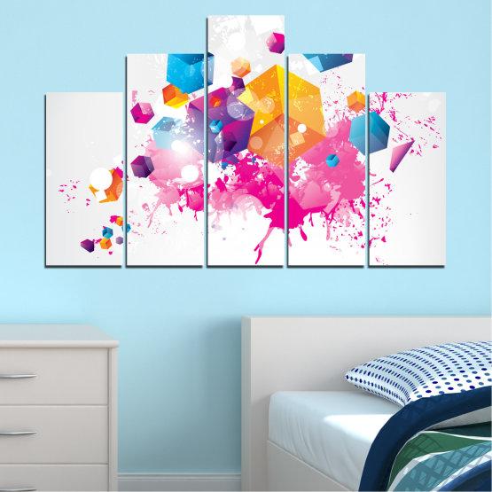 Εκτύπωση σε καμβά και διακοσμητικά πάνελ τοίχου - 5 τεμάχια №0370 » Ροζ, Κίτρινος, Γκρί, Άσπρο, Γαλακτώδες ροζ » Αφαίρεση, Γραφικός, Κύβος Form #5