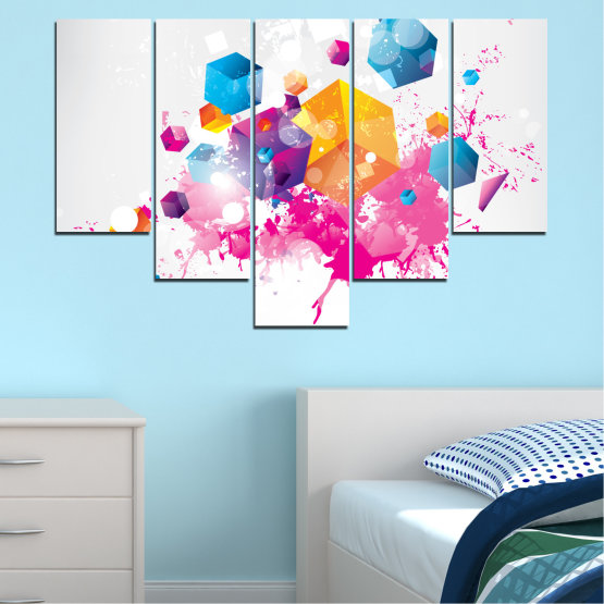 Canvas prints & wall decorative panels - 5 pieces №0370 » Pink, Yellow, Gray, White, Milky pink » Abstraction, Colorful, Cube Form #6